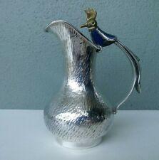 LOS CASTILLO MID CENTURY TAXCO SILVER PLATE PITCHER w/ STONE INLAY BIRD HANDLE