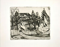 Hans Meyboden: Haus im Garten. [1976]. Original-Radierung.