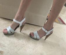Lanvin White Leather Heels Sandals Snake Platforms Size 40 Or 9