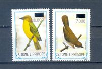 SAO TOME AND PRINCIPE  2 STAMPS OVERPRINT  BIRDS    MNH