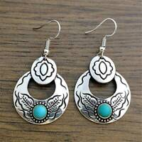 Vintage 925 Silver Turquoise Earrings Ear Hook Dangle Drop Women Wedding Jewelry