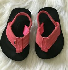 Rainbow Toddler Girls Size 3-4 Black With Pink Strap Sandal/Flipflops