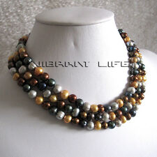 """48"""" 6-8mm Multi Color Freshwater Pearl Necklace Strands Jewelry U"""