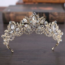 5.5cm High Champagne Gold Big Crystal Crown Wedding Bridal Party Pageant Prom