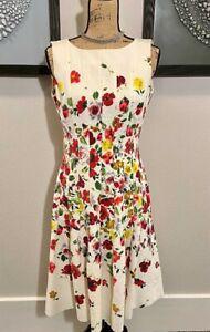 OSCAR DE LA RENTA floral-print darted a-line dress SIZE 8