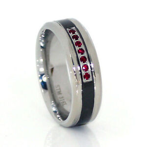 Stainless Steel Wedding Band Red CZ Stones w Black 316 Ring
