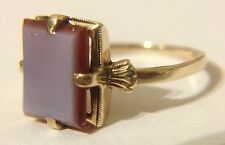 Antique 10k SOLID Gold Banded Sardonyx Agate Signet Ring Size 5 RARE!
