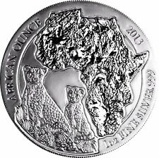 1 Oz Silber Ruanda Gepard 2013 Stempelglanz Silbermünze 50 Franc