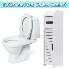 White Bathroom Floor Corner Cabinet Toilet Paper Storage Holder Organizer   #