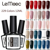 LEMOOC 12ml Nail UV Gel Polish Soak off No Wipe Top Base Coat Nail Art UV/LED