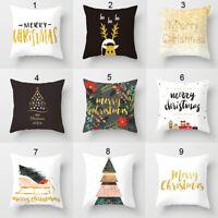 "18x18"" Pillow Covers Christmas Cotton Sofa Throw Cushion Case Home Decor Gifts"