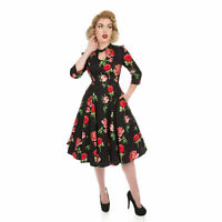 Hearts & Roses London Valentine Vintage Retro 1950s Floral Rose Flared Tea Dress