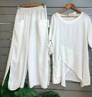 "PURO LINO Lagenlook *WHITE* Tunic Top & Trousers Set 10-16UK ITALIAN 48""Bust OS"