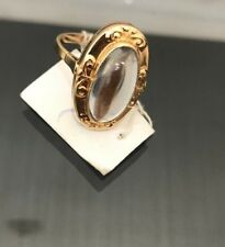 Russian Vintage 14k 583 Rose Gold Women Ring With Moonstone USSR Jewelry