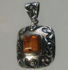 """Silpada 1 5/8"""" Sterling Silver Scrolled Square Amber Pendant S0908"""
