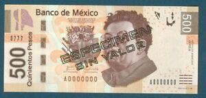 Mexico Specimen Pick 126as 500 Pesos 2010 Series A