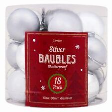 18 SILVER Christmas Baubles Tree Decoration Xmas Festive Ornament Shatterproof
