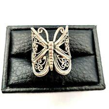 Large Openwork Boho Stamped Sz 6 Vintage Sterling Silver Filigree Butterfly Ring