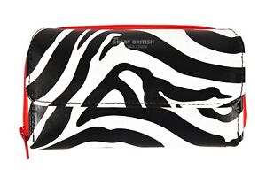 Ladies Zebra Print Clutch Wallet Real Leather RFID Protected Card Holder Purse