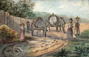 WINE MAKERS AT SATIGNY SWITZERLAND Small Painting E CAMPBELL 1826 GRAND TOUR