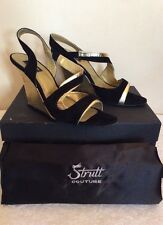 STRUTT COUTURE BLACK SUEDE & GOLD SLINGBACK WEDGE HEELS SIZE 6/39 COST £200