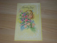 Early 1900's BIRTHDAY CARDS - LITTLE GIRL W/ FRUIT & FLOWERS