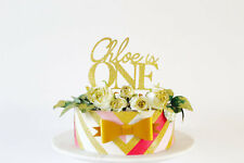 Gold glitter name and age Cake Topper