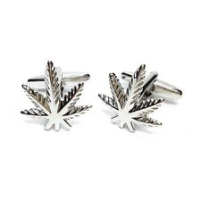 Smokers Leaf Weed Cufflinks with Engraved Chrome Case (X2AJ086-DCB)