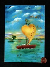 Heart Shaped Sail Boat Palm Trees Couple - Large Blank Note Greeting Card - New