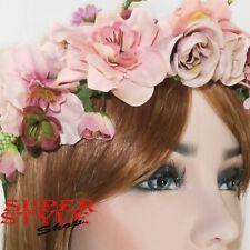 Rose poudrée fleurs Couronne Bandeau Hair Band Garland Couronne Mariage Boho 20