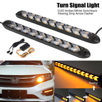 2x White/Amber Car Flexible Switchback Flowing LED Strip Light DRL Turn Signal