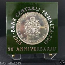 1988 Malta 20th Anniversary Central Bank Of Malta Silver Proof Coin Box #0549