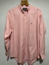 "Mens Ralph Lauren Shirt Long Sleeve Pink Great Condition Yarmouth 16.5"" Collar"