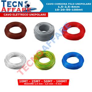 Cavo elettrico Unipolare Cavo cordina FS17 1,5 2,5 4 Matassa 10-25-50-100MT