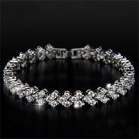 Women Clear Zircon Crystal Bangle Rhinestone Plated Chain Bracelet Jewelry Gift
