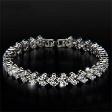 Women Rhinestone Plated Chain Jewelry Clear Zircon Crystal Bangle Bracelet Gift