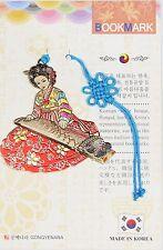 Traditional Korean reader Metal Bookmark - Korean zither(Red)
