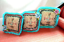 3 Rococo Victorian Dollhouse 1:6 or 1:12 Turquoise Fringed Silk Miniature Pillow