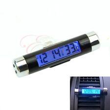 2 en 1 clip-it LCD numérique rétro-éclairage automobile thermomètre horloge