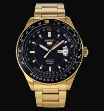 NEW GOLD SEIKO 5 SPORTS 24 JEWEL AUTOMATIC FLIGHTMASTER PILOT'S WATCH SRP618K1