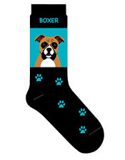 Boxer Dog Socks Cotton Crew Stretch Egyptian Made Blue