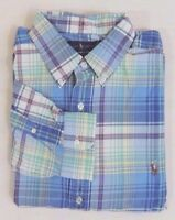 Men Ralph Lauren Polo Pony Tartan Plaid Oxford Long Sleeves Classic Dress Shirt