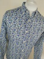 Mens Pretty Green X Liberty Floral Shirt Blue Small 40 Chest Classic Fit