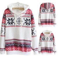 Women Hoodie Sweatshirt Jumper Sweater Coat Hooded Pullover Top Blouse Size 6-20