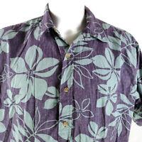 Cooke Street Reverse Print 2XL Leaf Fronds Blue-Green Hawaiian Aloha Shirt