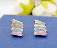 Women's 18K Rose Gold GF Multi Color Rainbow Crystal Ear Stud / Clip on Earrings