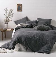 Linen House Abigail Charcoal Queen Quilt Cover Set | Queen King Super King Euro