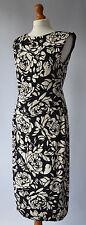 Ladies Phase Eight Black & Cream Rose Print Stretch Dress Size Uk 14