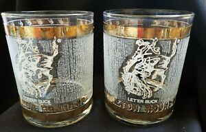 VINTAGE PENDELTON ROUND-UP RODEO GOLD SET OF 2 DOUBLE OLD FASHIONED DOF GLASSES