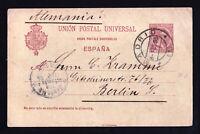 SPAIN UPU POSTAL STATIONARY MADRID CDS 10 CENTIMOS TO BERLIN GERMANY 1895